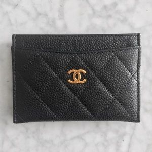 Chanel Black Quilted Caviar Leather CC Card Holder